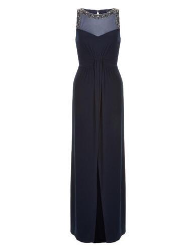 Sequin Dress Navy Maxi Monsoon Embellished 8 Uk Azotic Sz Neck New t0Y5qwO