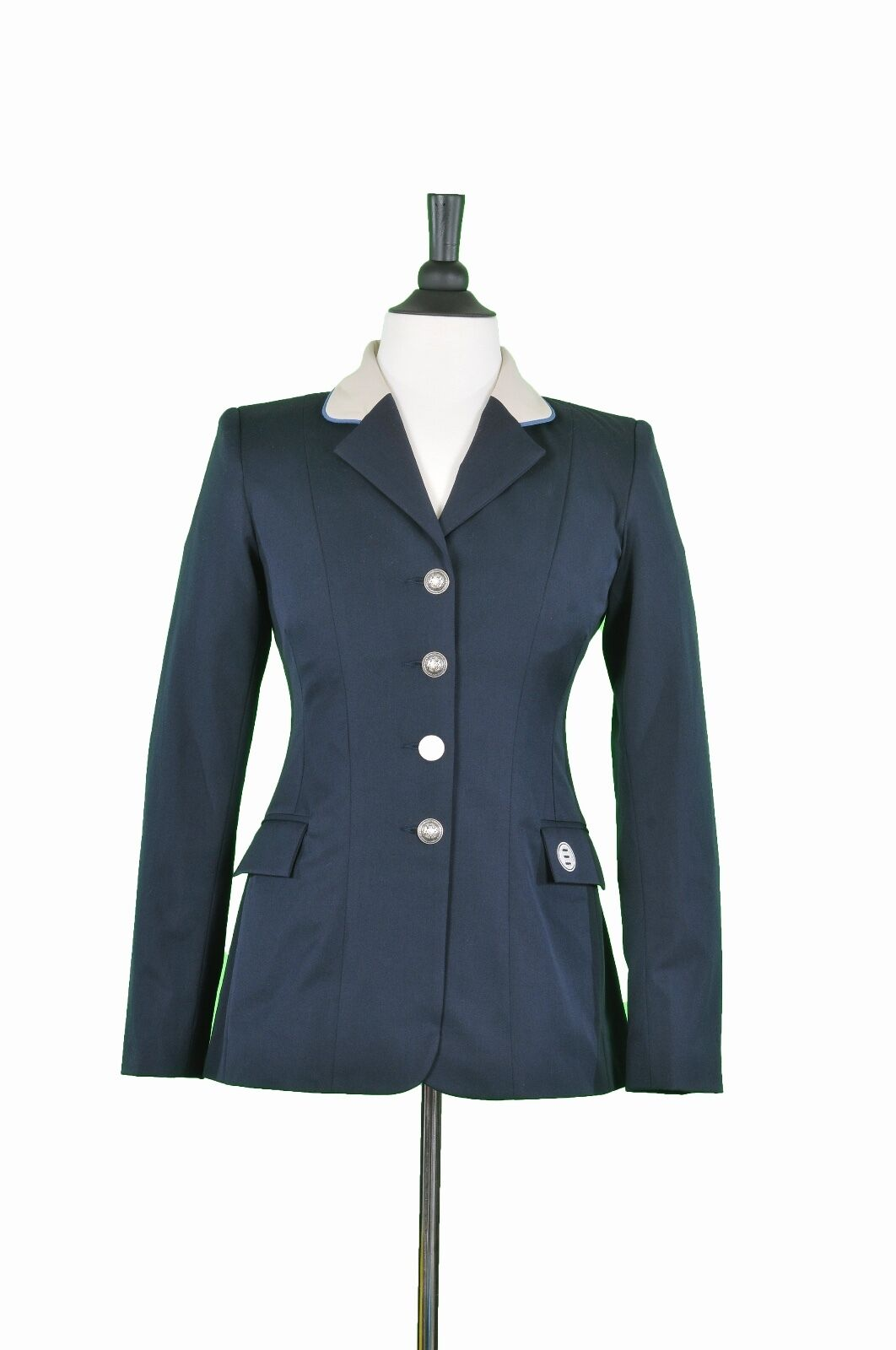 Ladies Hunt Coat by Renard et Cheval Navy w Tan Collar & bluee Pipe Size16R plain
