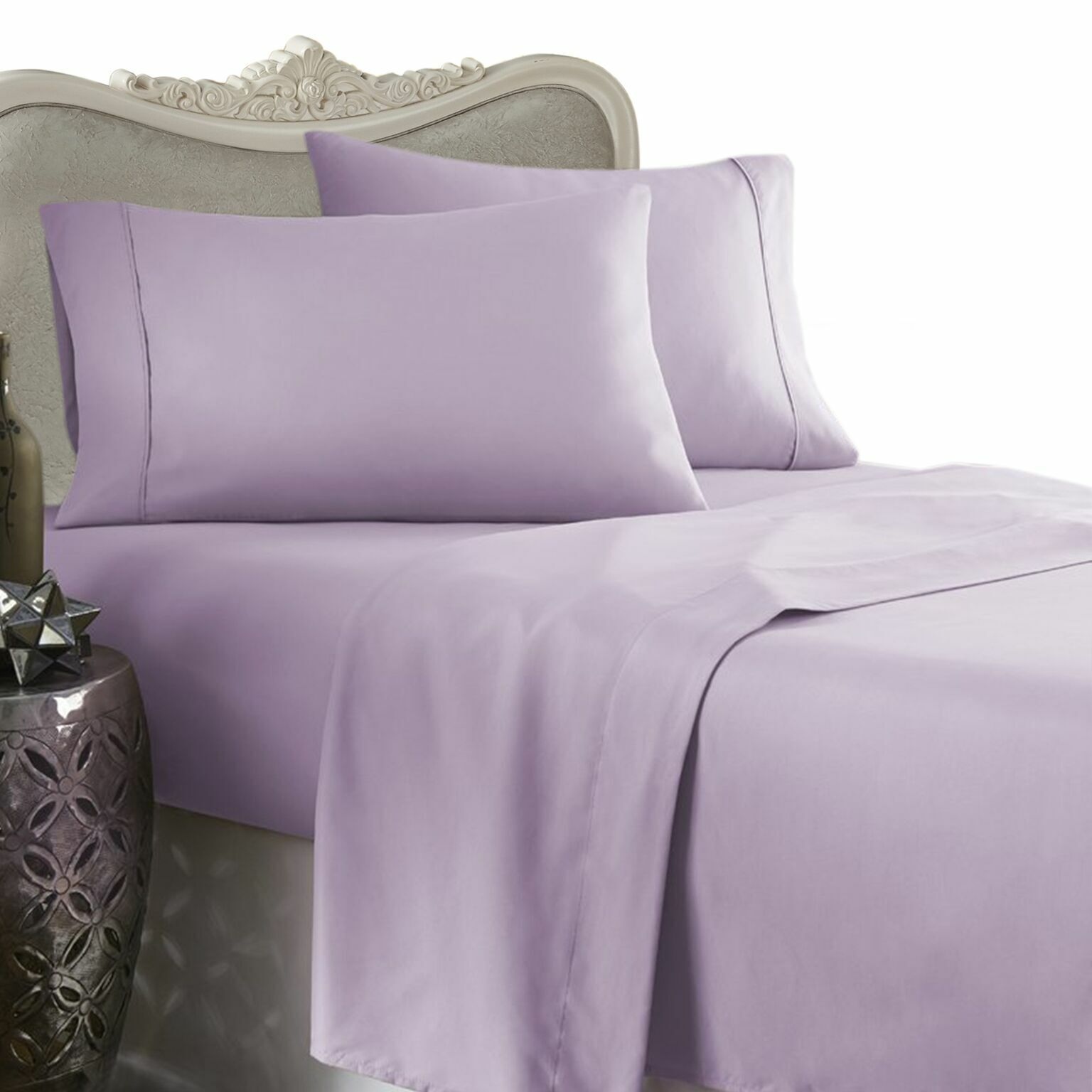 1200 Thread Count 100% Egyptian Cotton Bed Sheet Set 1200 TC TWIN Lavender Solid