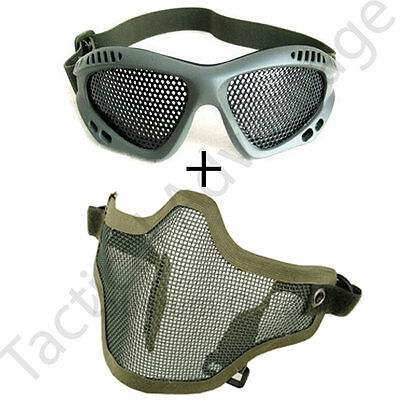 Airsoft Wire Mesh Mask and Goggles Full Face Protection Glasses Skirmish Strike