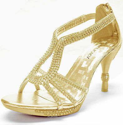 New women/'s shoes rhinestones stilettos open toe gold evening prom wedding