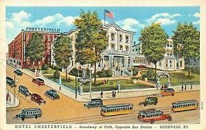 LOUISVILLE-KY-HOTEL-CHESTERFIELD-BROADWAY-AT-FIFTH-1930s-PRE-LINEN-POSTCARD