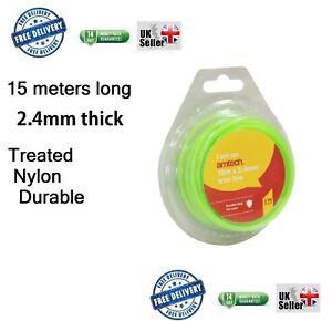 15m-x-2-4mm-STRONG-Strimmer-Line-Nylon-Wire-Round-String-Medium-Electric-Trimmer