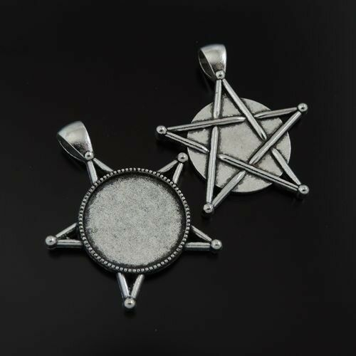 x6 Vintage Silver Alloy Base Round 20mm Bezel Frame Pentagram Pendant Lot of