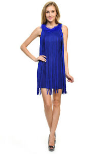 Sexy-Jrs-Fringe-Royal-Blue-or-Red-Lined-Party-Mini-Dress-Faux-Fur-Collar-S-M-L