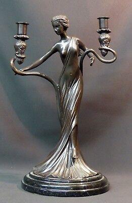 Actief D Superbe Statue Sculpture Bronze Art Nouveau Bougeoir 5.5kg40cm Très Déco Fancy Colors