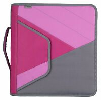 Mead 2 Zipper Binder With Handle, Includes Interior And Exterior Pockets, Pink