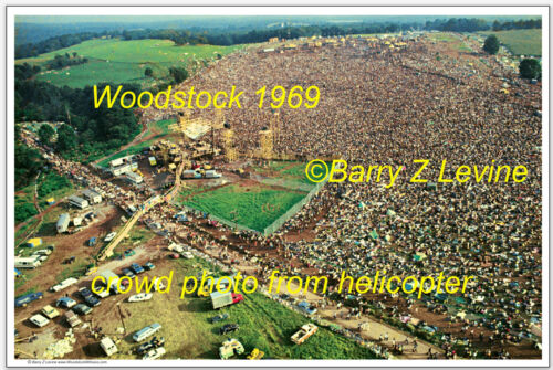 """Woodstock 1969 Festival Aerial Photograph 12/"""" X 18/""""© by Barry Z Levine"""