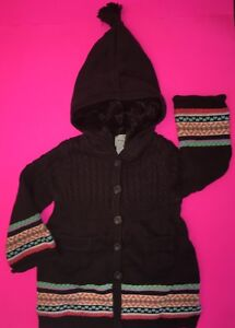3bf911168f1c NWOT BABY GAP GIRLS FAIR ISLE SWEATER COAT BROWN 18-24 MONTHS ...