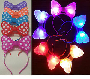 100 Pc Light Up Minnie Mickey Mouse Ears Bows Headbands Multi Color