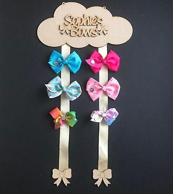 Wording Cloud MDF Laser Cut Wooden Hair Clip Bow Holder Bow Hanger Plaque