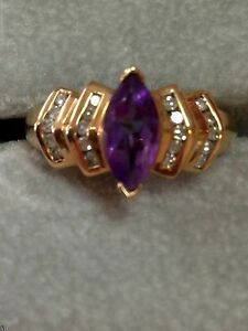 CRP 10K Yellow Gold Amethyst and genuine diamonds Ring, 6