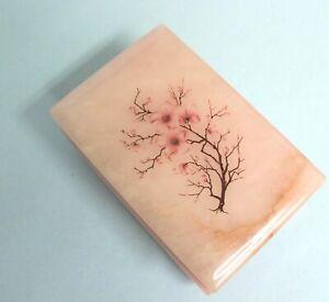 Genuine-Alabaster-Hand-Carved-Italian-Vintage-Cherry-Blossom-Trinket-Box-EUC