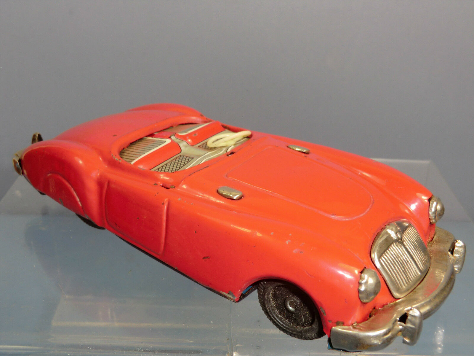 VINTAGE  TINPLATE  FRICTION   SANSHIN  MODEL OF A MGA  SOFT TOP   SPORTS CAR