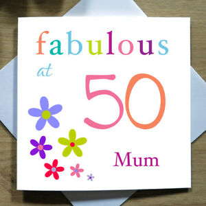 personalised handmade fabulous at 50 birthday card for her 50th