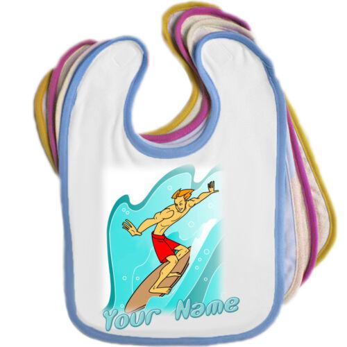edge couleur-cadeau bébé! Surfeur Surf personnalisé bébé bib-n/'importe quel nom