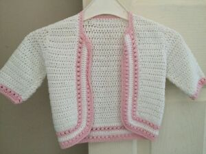 Beautiful-Crocheted-Girls-Pink-Cardigan-3-6-Months-VGC