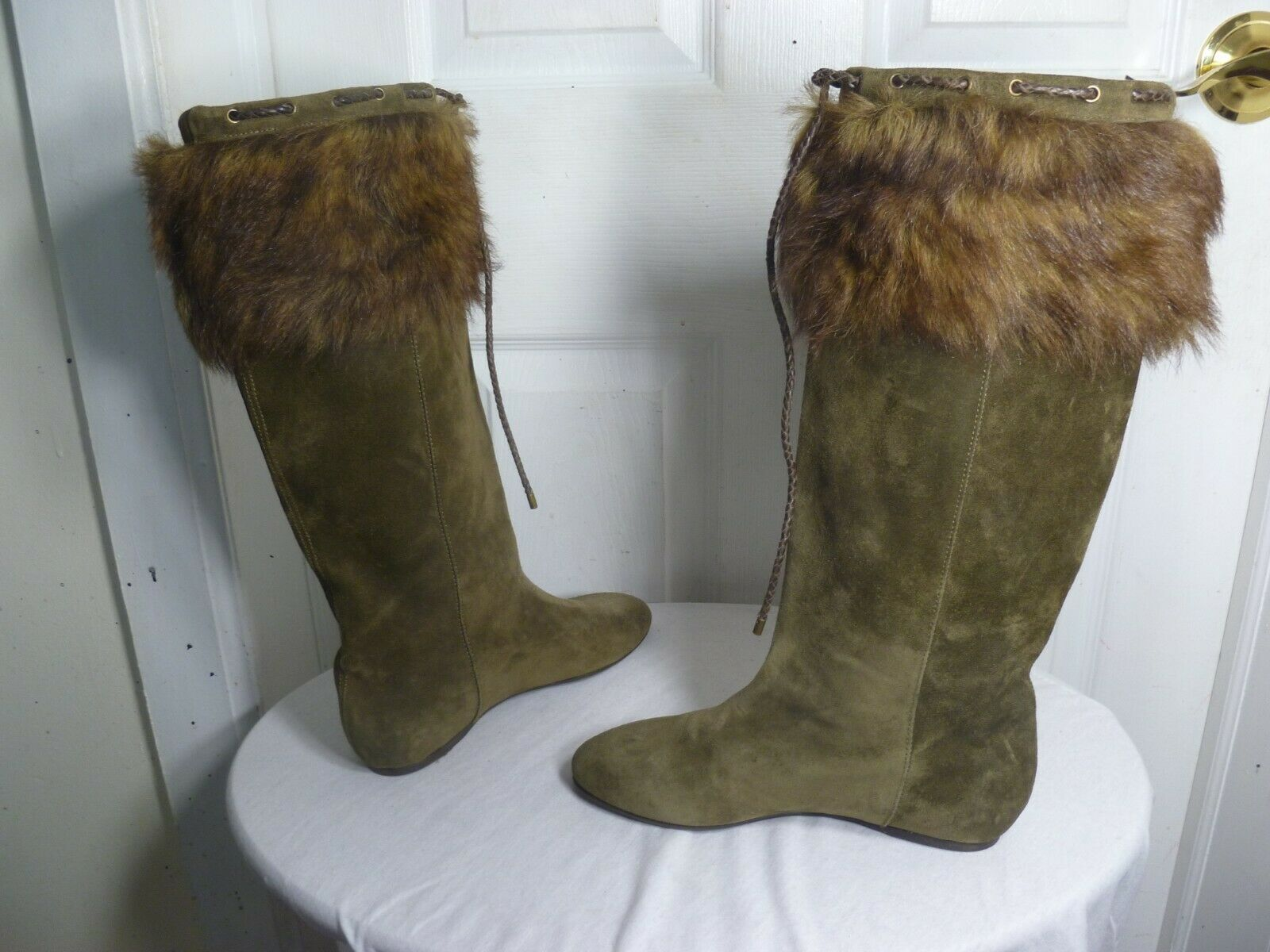 RALPH LAUREN COLLECTION lila LABEL LEATHER FUR HIDDEN WEDGE TALL Stiefel 8 B