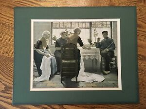 Rare Antique Dutch Scene Print People Around The Table Green Mat Included.