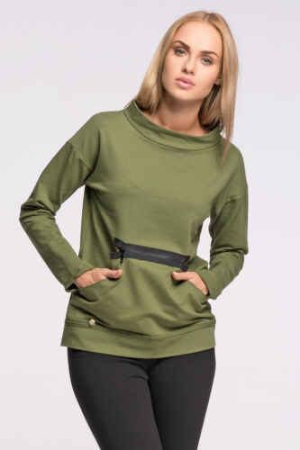 Womens Sporty Sweatshirt With Pockets Pullover Top Jumper Sweat Size 8-14 FA473