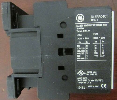 GE GENERAL ELECTRIC RL4RA040TD 24V Auxiliary Relay Contactor