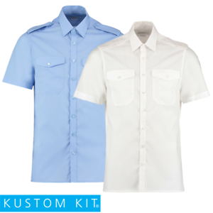 Kustom-Kit-MEN-039-S-PILOT-SHIRT-SHORT-SLEEVE-POCKETS-TAILORED-EASY-IRON-14-5-19-5