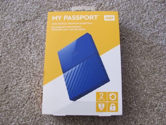 WD My Passport 2TB Portable External Hard Drive Blue USB 2.0/3.0 WDBYFT0020BBL