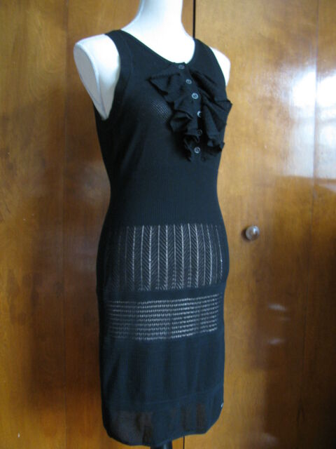 35d0d1eb41dd Lacoste Malandrino women's black mesh lined detailed dress size Large NWT