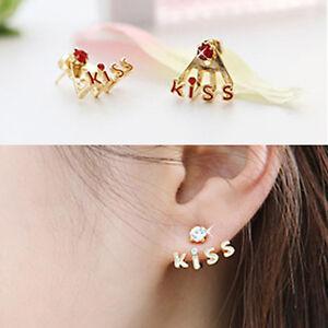 Korean-Style-New-Fashion-KISS-Letters-Rhinestone-Cute-Stud-Earrings-4-Color