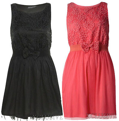 New Ladies Plus Size Floral Lace Mesh Lined Hem Bow Featured Party Dress 16-26