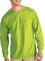 (4) Xl Safety Green Long Sleeve T-shirt W/pocket Extra Large Gilden Usa- 285459