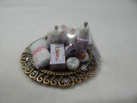 Dollhouse Miniature 1:12 Scale Vanity Tray Lotion Perfume Bottles Z301 Lt Pink