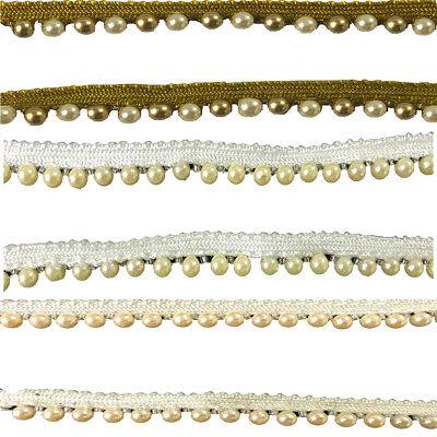 Pearl Lace Ribbon Fabric Vintage Style Trim Embellishment Decorations Cloths 1m