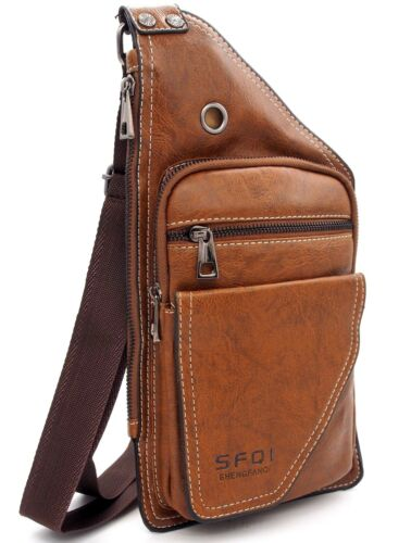 Satchel holster leather synthetic bag chest to shoulder strap man