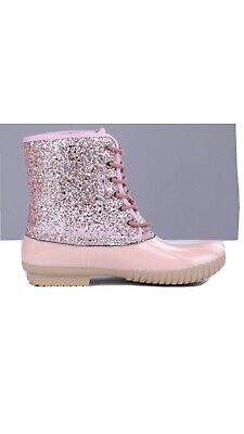 New Pink Glitter Women's Duck Boots