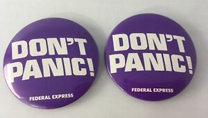 2-FedEx-Federal-Express-Don-039-t-Panic-Pinback-BUtton-Pin-Badge-1980-039-s-80-039-s-2-25-034