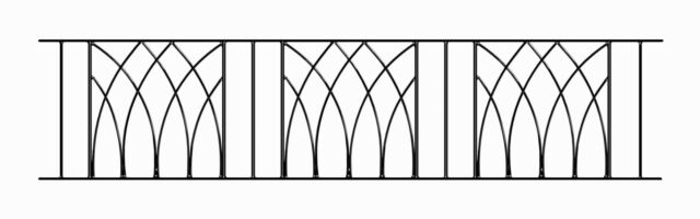 Anavio Modern Railing Panel 1830mm GAP x 395mm H Wrought Iron Metal Fence AB06