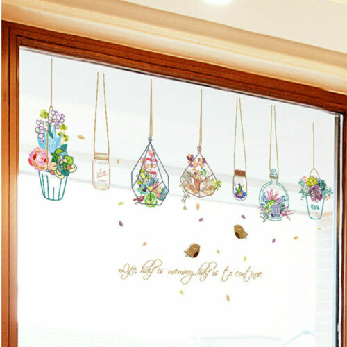 Flowers Potted Plant Wall Sticker Removable Waterproof Window Vinyl Decor Decals