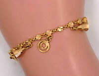 "18kt Solid Yellow Gold Diamond Cut Tinkling Charm Bracelet ~ 6 1/2"" ~ 10.5 Grams"