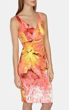 KAREN MILLEN SOLD OUT PEACH & LEMON SPLASH PRINT DRESS SIZE 10 BRAND NEW