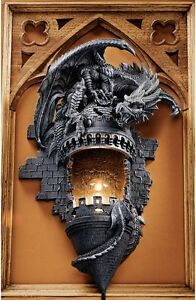 Gothic Castle Turret Dragon Electric Wall Sconce Sculpture Medieval Home Decor Ebay