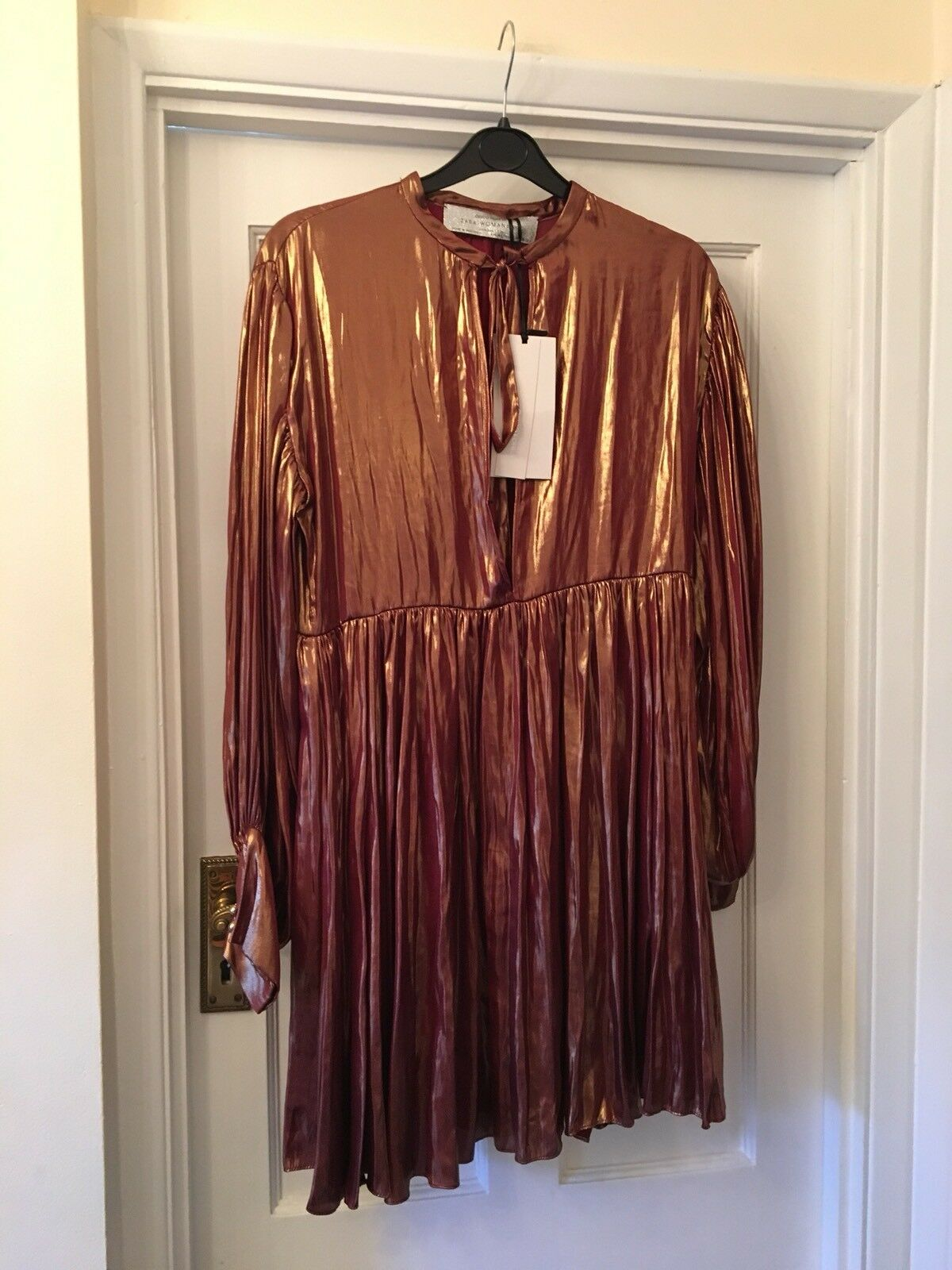 New Zara Woman Studio Gold Shiny Shirt Blouse Summer Festival Party Dress,M L