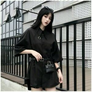 Lady-Blouse-Shirt-Top-Short-Sleeve-Black-Harajuku-Loose-Goth-Punk-with-Belt-Cool
