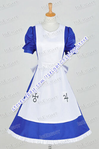 Alice Madness Returns Cosplay Alice Costume Apron Blue Maid Dress