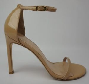 Stuart-Weitzman-Nudistsong-Adobe-Aniline-Patent-Heel-Ankle-Strap-Sandal-Size-8-5