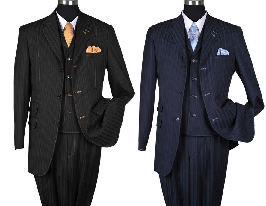 Men's 3 Piece Wool Feel Classic Striped Suit w  Vest 5267 Navy, Tan