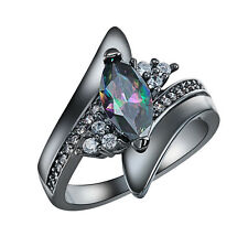 Crystal Ring Black Gold Plated Ring Size 8 Rings Engagement Jewelry RJ91