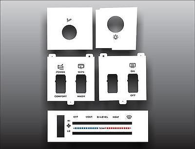 1986-1996 Jeep Cherokee White Heater Control Switch Overlay HVAC