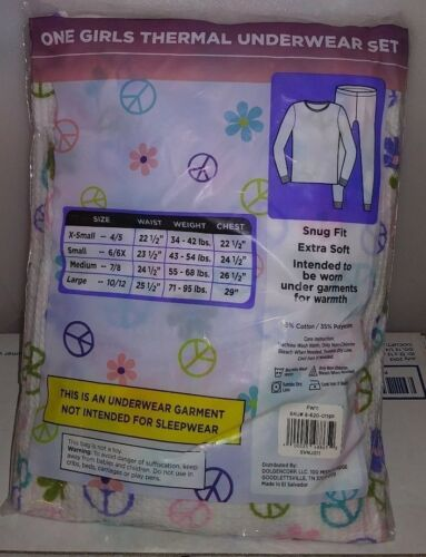 Details about  /BOBBIE BROOKS GIRLS THERMAL UNDERWEAR SET SNUG FIT X-SOFT SMALL 6//6X PEACE A-14