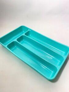 Vintage-50s-60s-Kitchen-Lustroware-Turquoise-Plastic-Utensil-Organizer-Flatware